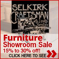 Huge showroom furniture sale at Selkirk Craftsman Furniture. Beautiful handcrafted heirloom furniture you will pass down through generations. Visit www.selkirkcraftsmanfurniture.com for more information.