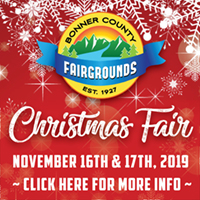 Come to the annual Christmas Fair at the Bonner County Fairgrounds. Find something unique and handmade for everyone on your list, and have a blast with Christmas treats, coffee, kids' activities, and festive music.