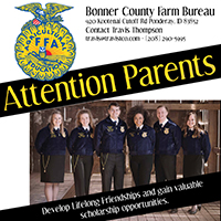 Bonner County Farm Bureau is seeking parents of children that are interested in joining Future Farmers of America. Call Travis Thompson if you are interested in learning more.