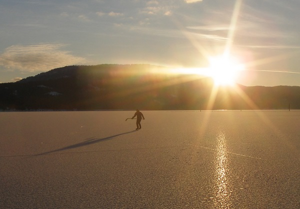 Skating Lake Pend Oreille in Sandpoint Idaho